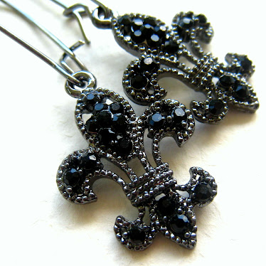 Blackened Fleur de Lis Earrings