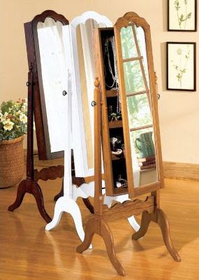 locking jewelry armoire Cheval Mirror Jewelry Armoire