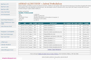 jadwal kuliah bsi semsester 6 wolter MI.6B.23, Ahmad Alimuddin