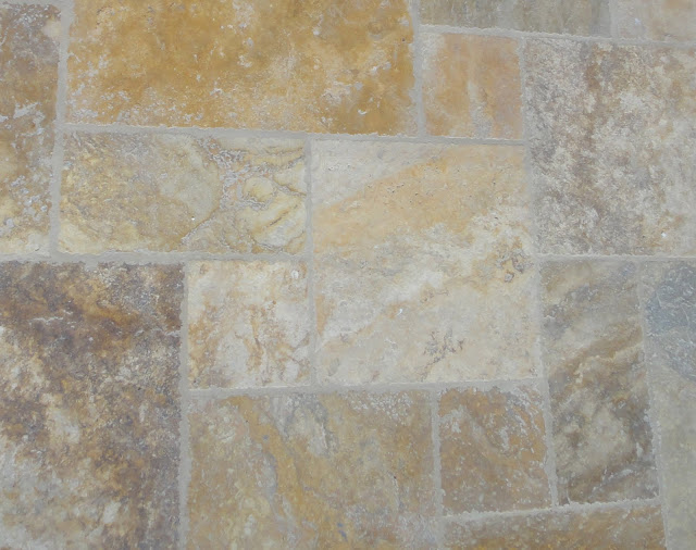 Antique style versailles pattern travertine porch for Best grout color for travertine tile