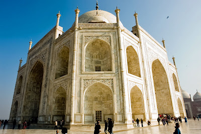 A beautiful angular view of the marble structure of the Taj Mahal