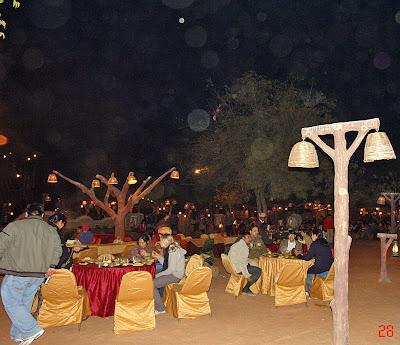 Chokhi Dhaani in Jaipur - Tourists enjoying the buffet spread