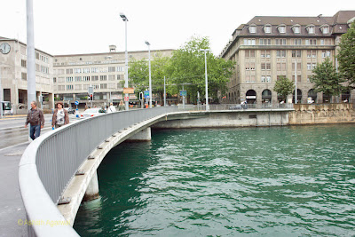 Angular view of the bridge over the river Limmat in Zurich