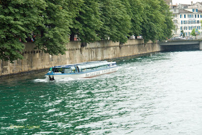 A river cruise on the Limmat river in Zurich, Switzerland