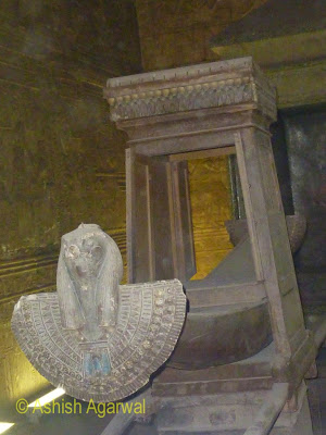Edfu temple in Egypt - Sanctuary Of Horus, the holiest part of the temple