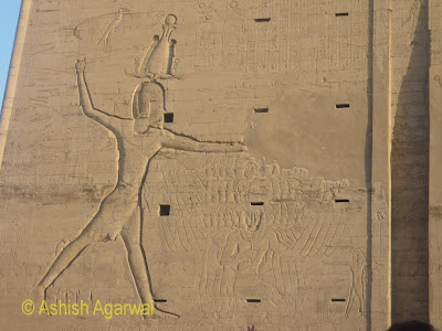 Edfu temple in Egypt - the large carving in the first pylon