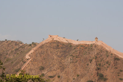 Boundary wall on the hilltops near the Amer Fort in Jaipur
