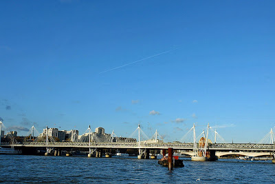 The Hungerford Bridge over the river Thames in London