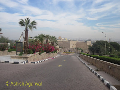 Basma Hotel in Aswan in Egypt - view of the sloping entrance to the hotel from the road