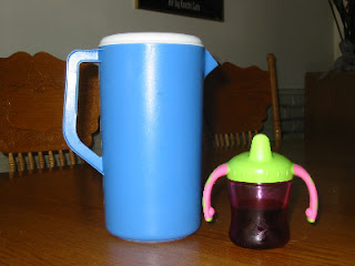 Photo of Pitcher & Sippy of Cranberry Juice