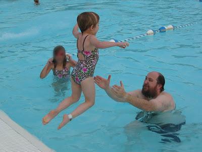 Joy jumps into the pool again