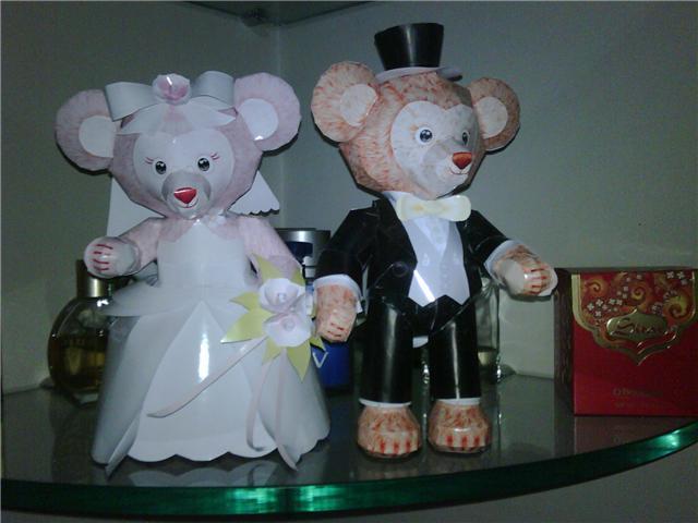Casal de ursos noivos