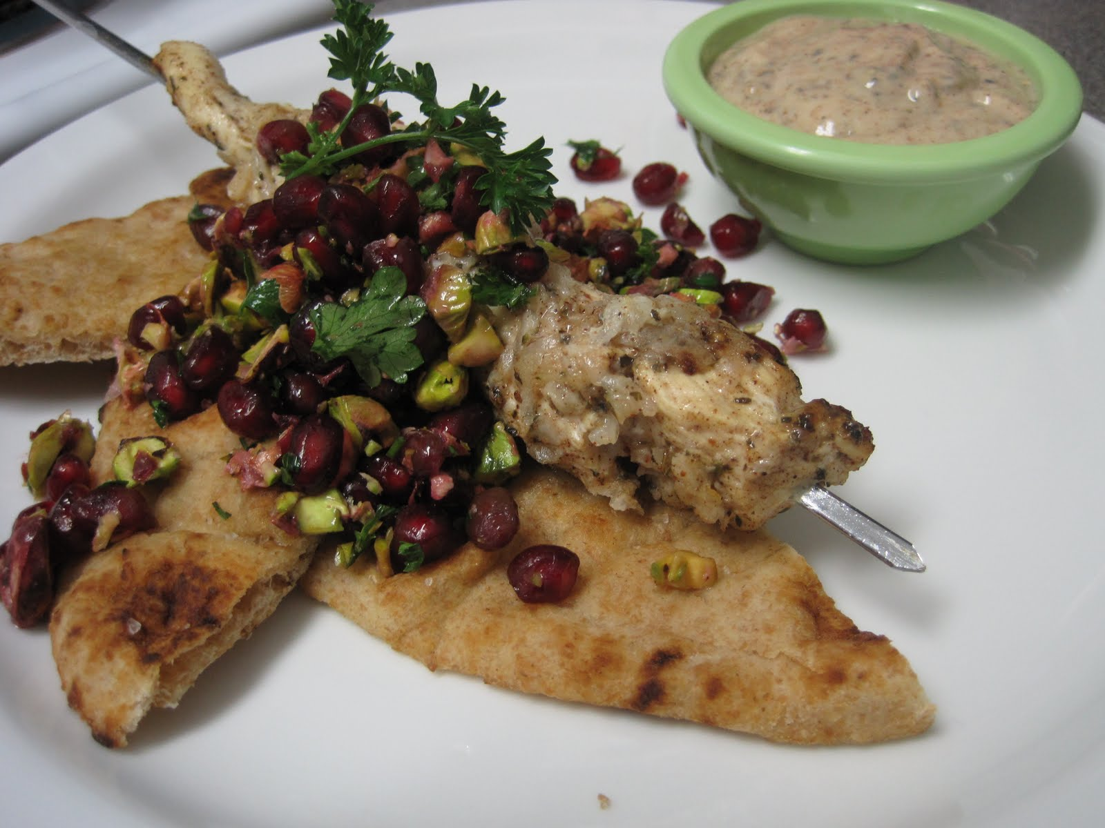 ... turkish spiced chicken kebabs with pomegranate relish and tahini