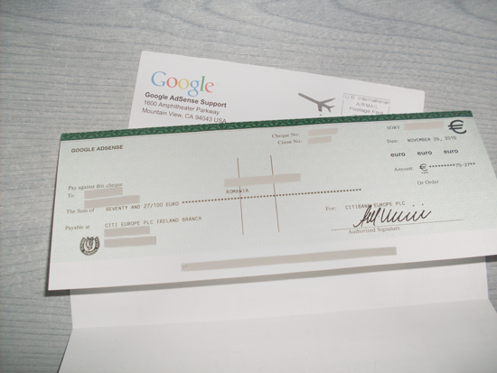 first adsense payment check