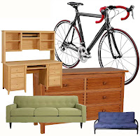Examples of items to be stored, bikes, couch, dresser, futon