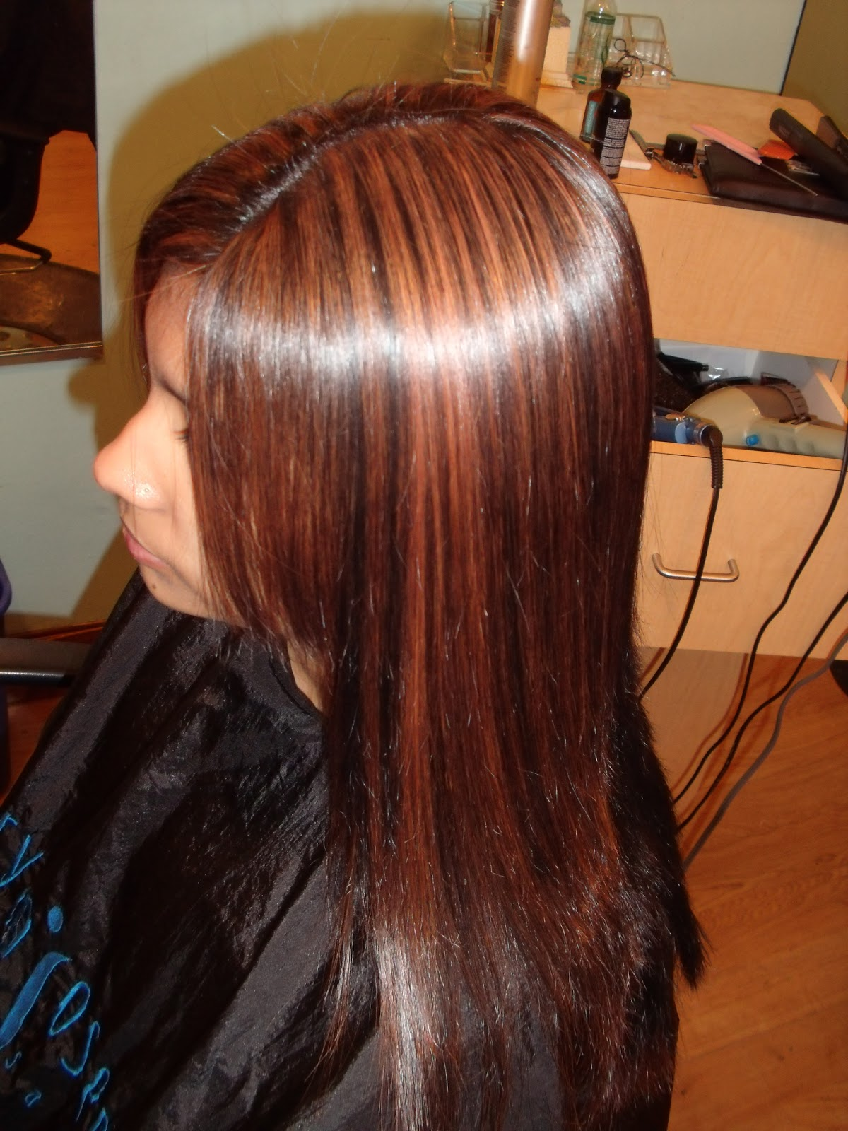 Cherry Coke Red Highlights Highlights toned with redken ""