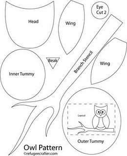 Ducklingpond owl pattern 3 for Owl templates for sewing