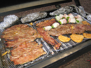 various items on the grill