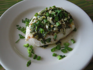 Home cooking - Halibut w/ cilantro/garlic/butter/lime sauce