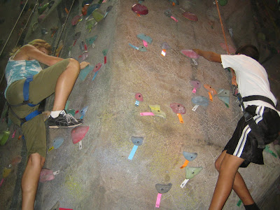 WSF mentor and mentee indoor rock climbing