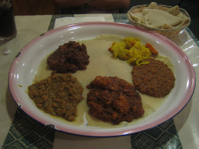 Cafe Lalibela - platter of five items and injera