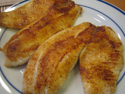 Pan fried tilapia (seasoned w/ cajun spice mix)