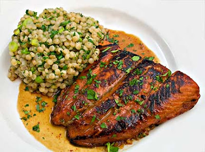 Pomegranate Salmon with Parsley Couscous Pilaf