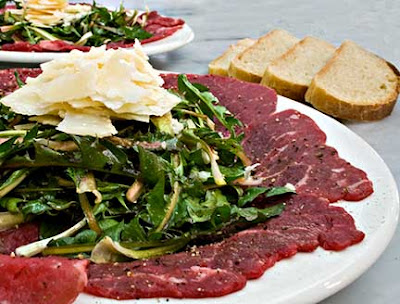 Carpaccio with Dandelion Salad and White Truffle Oil
