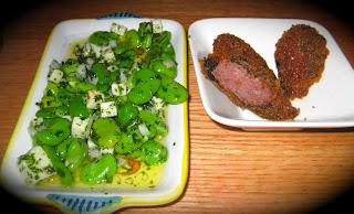 fava bean salad and lamb and sage sausage at Terroir