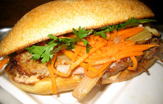 five spiced pork belly sandwich at Num Pang