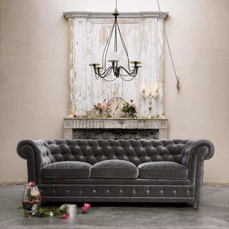 Gray Velvet Chesterfield Sofa