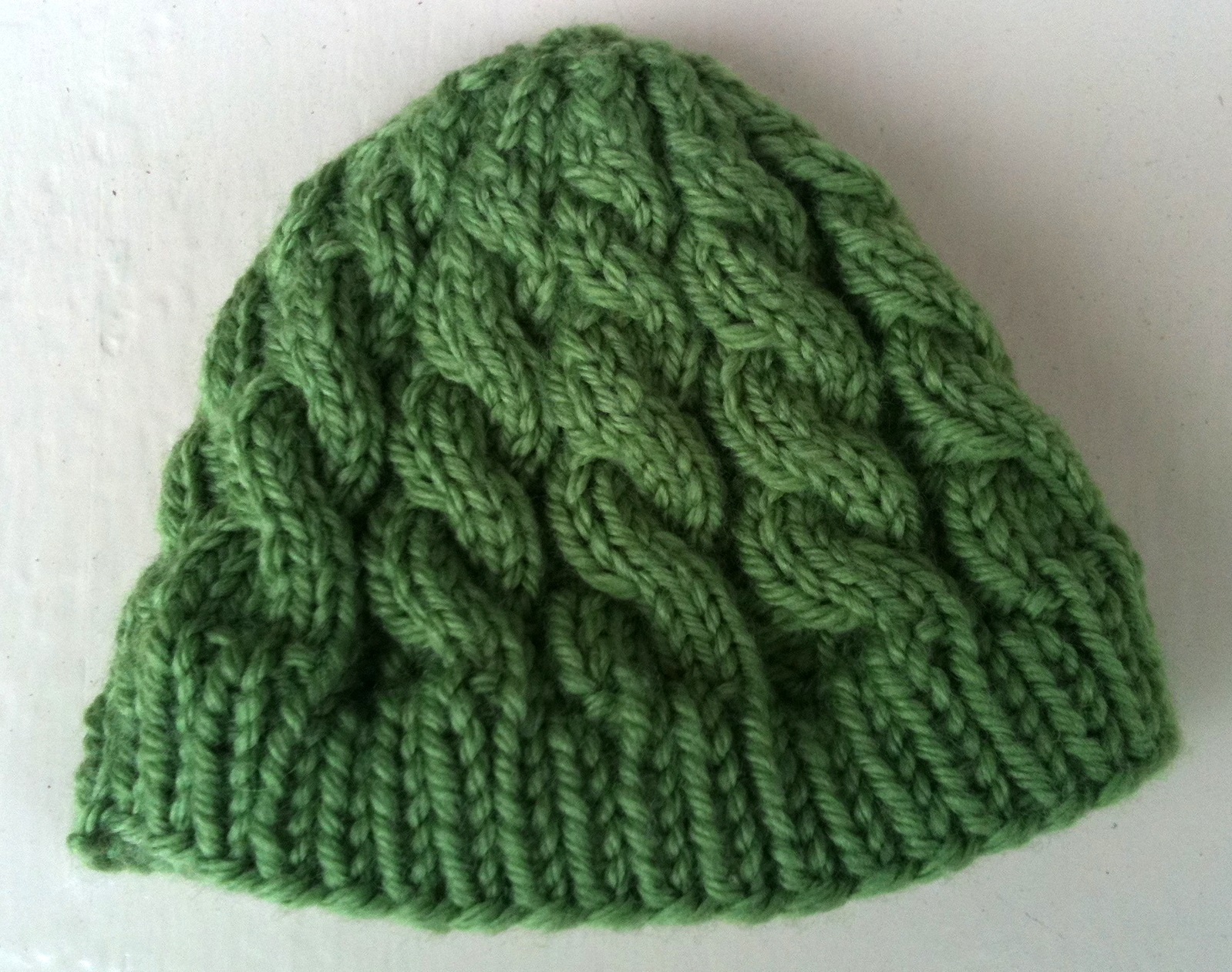 Needle and Spatula  Green Cabled Baby Hat c02b5ebdd370