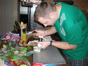 Wes decorating cookies