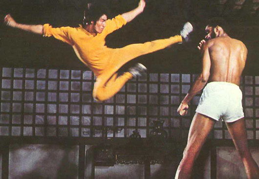 bruce lee flying kick