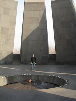 Shaun withing the genocide monument and tribute to the lost Armenian tribes.
