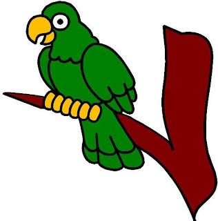 Dibujo de un loro verde en una rama