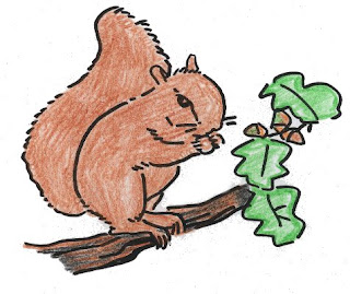 Ilustración de la ardilla comiendo sobre una rama