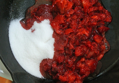 Strawberries+and+sugar+in+pan Skillet Strawberry Jam (with Vanilla)