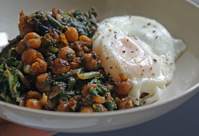 Roasted+chick+peas+and+chard+with+an+egg Curried Chick Peas & Chard with Poached Eggs