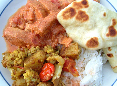 Butter+Chicken+2 Day 300: Butter Chicken, Coconut Rice, Curried Potatoes, Cauliflower and Grape Tomatoes, Naan and Crave Cupcakes