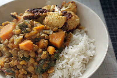 Curried+Lentils+%26+Sweet+Potatoes Curried Lentils With Sweet Potatoes and Swiss Chard, and Roasted Cauliflower