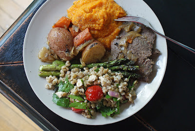 Bison+pot+roast+dinner Bison Pot Roast with vegetables, Squash Purée, Roasted Asparagus, Lentil, Barley & Feta Salad, and Pavlova with Black Currant Curd and Fruit Salsa