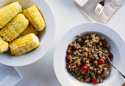 Corn+%26+salad Fresh Crab and Brown & Wild Rice & Barley Salad with Chickpeas