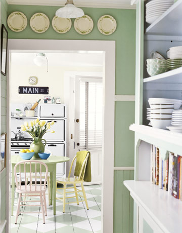 Back to home design vintage inspired green paint for Green colors for kitchen walls