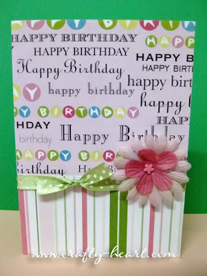 Happy Birthday Card in pink and lime green