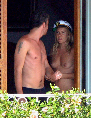 Sienna Miller Candid Topless Bikini and Naked Pictures with Balthazar Getty