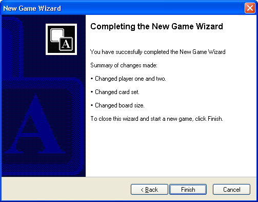 Game Wizard Completion Page in Concentration - the Memory Games 5.0