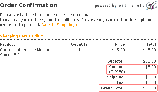 Purchase Concentration - the Memory Games; Step 3: Verify Discount on Checkout