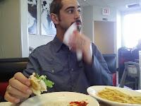 Allan enjoying his Steak and Shake meal