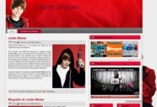 Plantilla para blogger de Justin Bieber